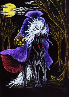 Original Halloween ACEO Scratchboard Art HEADLESS HORSEMAN Moon Night - MoniqueM #Realism by Monique Morin Matson