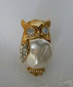 Vintage Rhinestone Hollywood Glam OWL BROOCH Pin 70's Costume Jewelry Jewellery Clear Rhinestones Boho Hipster Cottage Chic Horned Owls