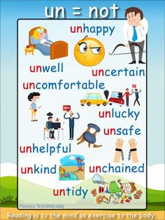 Prefix UN - What does the Prefix Un Mean? Prefix UN means Not - unhappy means not happy, untidy means not tidy - Words starting with prefix un Phonics For Kids, Phonics Reading, Teaching Phonics, Kindergarten Reading, Teaching Kids, English Phonics, English Grammar Worksheets, English Vocabulary, Teaching English