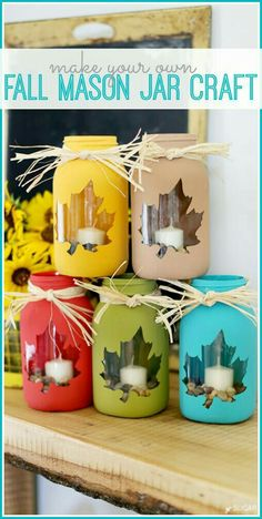 tips for how to make your own fall mason jar craft - love this cute diy decor idea! - - Sugar Bee Crafts fall crafts Mason Jar DIY Craft Ideas & Decor Projects for the Fall Fall Mason Jars, Mason Jar Diy, Pots Mason, Mason Jar Projects, Mason Jar Crafts, Crafts With Jars, Crafts For The Home, Bee Crafts, Kids Crafts