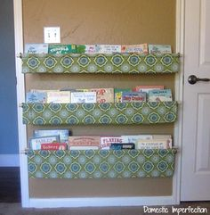 Book slings (rather than shelves) for kid's room.