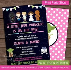 Girl Star Wars Baby Shower Invitation / Baby by printpartyshop