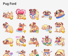 A sticker pack about a cute Pug named Ford. Pug Names, Telegram Stickers, Cute Pugs, Kids Videos, Werewolf, Bowser, Ford, Packing, Comics