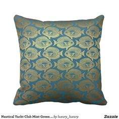 Nautical Yacht Club Mint Green Golden Fishes Cushions