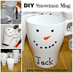 Make a personalised DIY snowman mug. A simple but very effective winter craft/ gift idea.