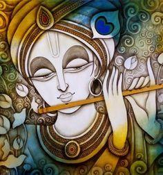 Lord Krishna Painting by artist Rakesh Mandal Pichwai Paintings, Indian Art Paintings, Krishna Painting, Krishna Art, Radhe Krishna, Acrylic Painting Canvas, Canvas Art, Madhubani Art, Music Painting