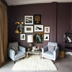Eclectic Home Deep Eggplant Purple Wall Paint Design, Pictures, Remodel, Decor and Ideas Plum Living Rooms, Eclectic Living Room, Living Room Paint, Living Room Designs, Living Room Decor, Plum Walls, Purple Walls, Dark Walls, White Walls