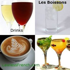 Les boissons - Learn the French names for various drinks  http://lawlessfrench.com/vocabulary/drinks/  #frenchvocabulary #learnfrench #fle #french