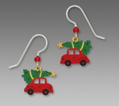 Red Car with Christmas Tree Tied on Roof EARRINGS by Sienna Sky Sterling Silver #SiennaSky #DropDangle