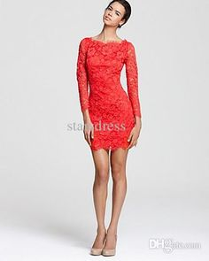 Wholesale Lace Dresses - Buy Red Short Lace Dresses Scoop Sheath Column Long Sleeve Evening Dresses Lace Cocktail Dresses Short, $66.34 | DHgate