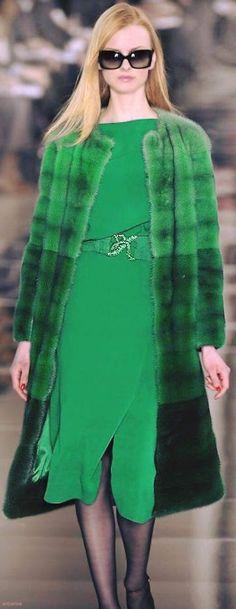 valentino sheared mink coat in ombré degradé shades of green. Fur Fashion, Green Fashion, High Fashion, Winter Fashion, Womens Fashion, Fashion Trends, Valentino, Mode Glamour, Fabulous Furs
