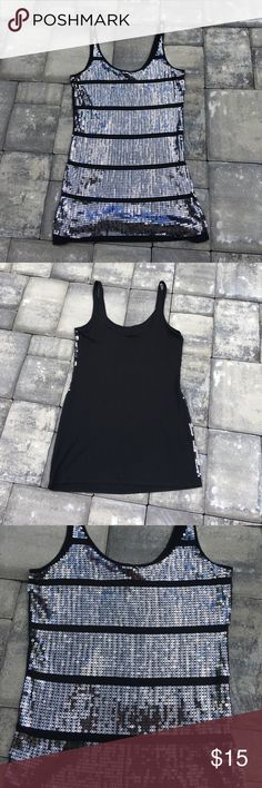 🇺🇸SALE🇺🇸Express black sequined tank top Fun sequined black express tank top EUC!! All sequins are in place. None are missing. Express Tops Tank Tops