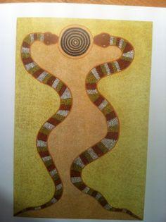 Snake Dreamimg. Australian aboriginal painting of the Rainbow Serpent...
