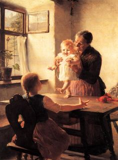 """Obra del pintor griego Georgios Jakobides (1853-1932). """"Los primeros pasos"""" (1893). Colección privada. /// Work by the Greek painter Georgios Jakobides (1853-1932). """"The First Steps""""   (1893). Private collection."""
