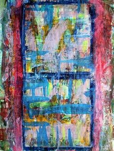 Dos - 2007 original abstract painting on paper acrylic colorful texture bold art