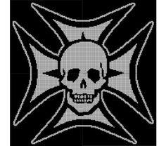 Skull & Maltese Cross Crochet Pattern Afghan Graph price - $3.50