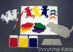 """And yet again, another flannelboard from the Storytime Katie archives. I made this flannel version of """"Mouse Paint"""" and posted about it in my Colors storytime, but I wanted to pull it o… Flannel Board Stories, Felt Board Stories, Felt Stories, Flannel Boards, Preschool Arts And Crafts, Preschool Colors, Preschool Literacy, Sequencing Activities, Preschool Themes"""