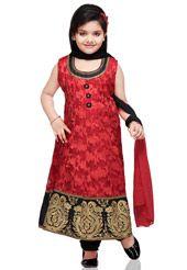 Red Net Brasso Readymade Anarkali Churidar Kameez