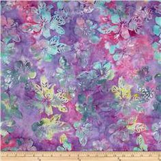 Indonesian Batik Floral Blue/Pink