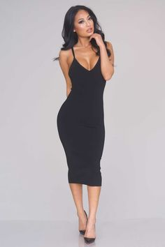 Double Strap Knit Midi Dress – Black - New Arrivals