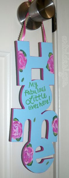 Wooden Door Hanger Letters. Great way to make a Little Sis feel special!  Also a GREAT idea for the members moving into the chapter house for the first time!!