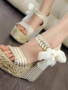 Wedge Sandal Shoes Apricot, how cute are these?? <3