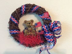 fourth of July wreath red white and blue by StylishDecorbyGClark