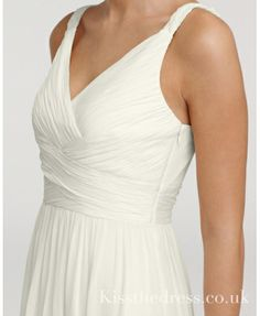 Simple White V-neck Chffion Beach Wedding Dress With Straps WD155
