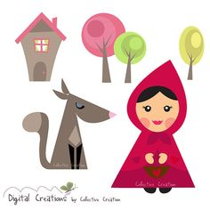 Little Red Riding Hood and the Wolf Digital Clipart Set - Ideal for Scrapbooking, Card Making and Paper Crafts, Clip Art on Etsy, € 3,92