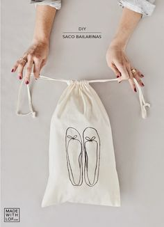 #diy drawstring shoe sack with free printable ballerina flats