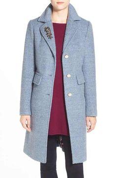 Eliza J Embellished Bouclé Reefer Coat