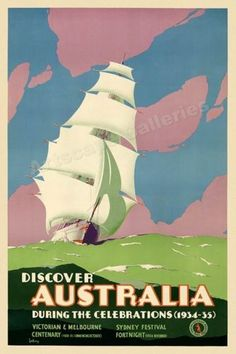 1934 Discover Australia By Boat Vintage Style Travel Poster - 16x24