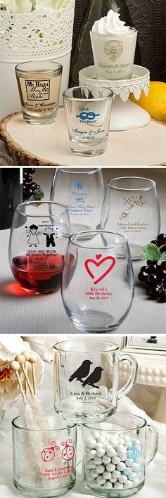 Use favor glasses to serve beer, wine, champagne, juices, or hot beverages during your wedding reception. Guests can take their wedding glass souvenir home to display in a curio or china cabinet, home bar, or family glass cupboard. Glassware like coffee mugs, stemless wine glasses and pint beer glasses can also be used for DIY favors to fill with candy, nuts, snack mix, and desserts. Glassware favors can be ordered at http://myweddingreceptionideas.com/personalized-glassware-favors.asp