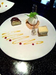 Pistachio roulade ,lemon sorbet and blueberry cheezecake.