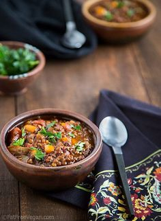 Black and Red Lentil Chili: Black lentils hold their shape and add a hearty texture while red lentils soften and thicken this smoky, flavorful vegan chili.