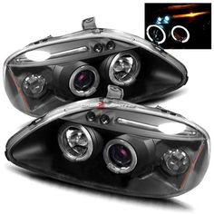 96-98 Honda Civic Halo LED Projector Headlights - JDM Black