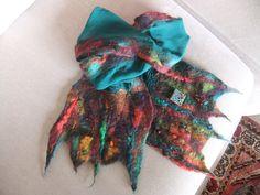 Rusty Rustic scarf, with enamel brooch