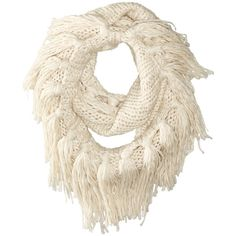 Hat Attack Fringe Double Loop (Oatmeal) Scarves ($22) ❤ liked on Polyvore featuring accessories, scarves, brown, infinity circle scarf, fringe shawl, loop scarves, fringe infinity scarf and chunky circle scarf