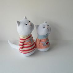 Pair of sock cats, sock animal, soft sculpture, plush, Pixie and Dixie. (Sold on Etsy but so cute!)