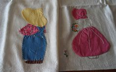 Vintage Flour Sack Cloth...Hand Stitched Applique Boy And Girl Dish/Tea Towels