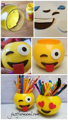 DIY Portalápices de Emoji para el regreso a clases, puedes reciclar frascos o comprar unos como estos en la tienda del dólar.