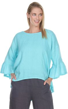 Match Point Light Weight Linen Ruffle Sleeve with Hi/Lo Hem in aqua, light pink, charcoal, and black Womens Linen Clothing, Point Light, Match Point, L And Light, Ruffle Sleeve, Bell Sleeve Top, Sleeves, Clothes, Flat