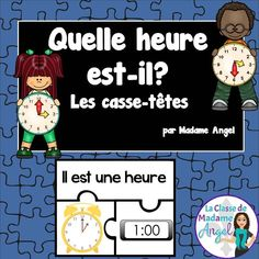 L'heure!  Telling time puzzles in French!  Great center or activity for early finishers.  To the hour and half hour.