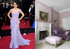 If Mila Kunis's delicate gown could be a room, it would be this boudoir, decorated in soft shades of lavender that seem to float in the air. Oscar Gowns, Mila Kunis, Entertainment Room, Elle Decor, Ethereal, Boudoir, Lavender, Delicate, Shades