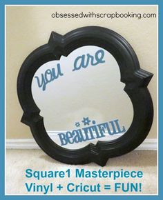 How to Use Cricut Square1 Masterpiece Repositionable Vinyl on a Mirror DIY
