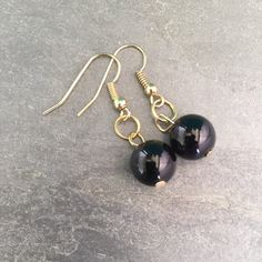 Black Obsidian and Gold Drop Earrings by TheGypsyRoseBoutique