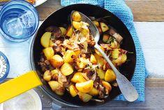 Kijk wat een lekker recept ik heb gevonden op Allerhande! Gebakken aardappelen met spek en ui