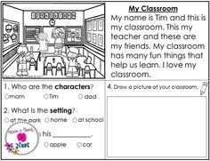 Kindergarten story element worksheets for reading