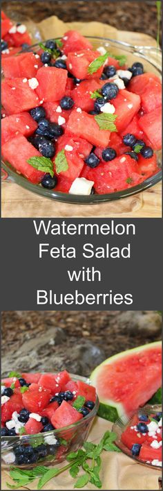 One of the easiest and tastiest summertime treats! Crisp, cool, refreshing and healthy. Watermelon Feta Salad with Blueberries and Mint! Healthy Salad Recipes, Fruit Recipes, Summer Recipes, Cooking Recipes, Delicious Recipes, Easy Recipes, Watermelon And Feta, Feta Salad, Summer Salads