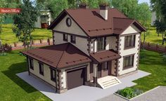 House project - House and cottage projects in .- House project – Projects of houses and cottages in Moscow - Simple House Exterior, Dream House Exterior, Tiny Beach House, Patio Grande, Home Building Tips, Modern Villa Design, Small Buildings, Exterior Remodel, New Home Designs